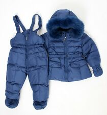 ADD Daunen Schneeanzug/Schneehose & Jacke m. Echtfell blau Gr. 12M, 18M, 3 Jahre