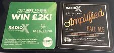 Radio X Green King collaboration Amplified beermat beer mat/coaster, new rare