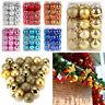 30/40/60/80mm Christmas Tree Baubles Plain Glitter Xmas Ornaments Balls Decor Bu