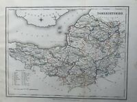 1848 Somerset Original Antique Hand Coloured County Map 172 Years Old