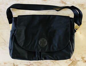 TORY BURCH Solid Black Nylon Large Messenger Bag