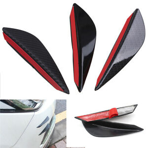 4Pcs ABS Glossy Black Style Auto Front Bumper Fins Lip Canards Splitter Trim Kit