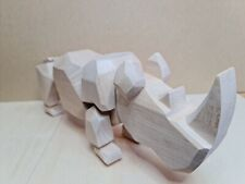 More details for unique hand carved wooden rhino - 5 x 15 inches, made from lime wood