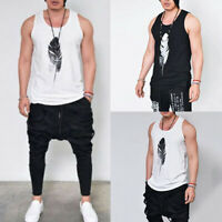 Men's Sleeveless Tops Feather Black White Gym Cami Vest Tank Tee T-shirt