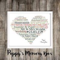 Personalised Heart Word Art Christmas Birthday Wedding Anniversary Mum Aunt Nan