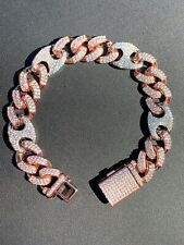 Mens Cuban Gucci Two Tone Rose & White Gold Over Stainless ICY Hip Hop Bracelet
