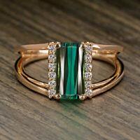 1.50Ct Green Emerald & Diamond 14K Rose Gold Over Split Shank Engagement Ring