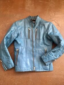 Vintage Biker jacket leather Amazing Blue Color.Size 40(M) RARE.Smoke Free/Clean