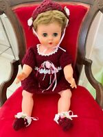 "Vtg Hand Crocheted Burgundy Dress Outfit (DOLL NOT INCLUDED) Fits 18-24"" Dolls"