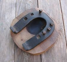 Rustic Wood and Iron Pin Tray / Dish Horseshoe Design