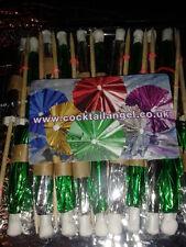 20 X Noël Verre Décorations (vert & argent cocktail Parapluies)