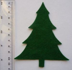 4 x GREEN FELT CHRISTMAS TREE DIE CUT SHAPES- for  APPLIQUE/BUNTING/CARDS