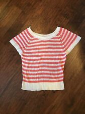 Aerie Women's Coral and White Striped Top size XL