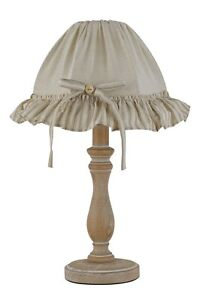 Table Lamp Light Classic Vintage Wooden Decapet Beige With Lampshade