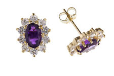 Amethyst Earrings Yellow Gold Stud Solid 9 Carat Cluster Studs Real Stone