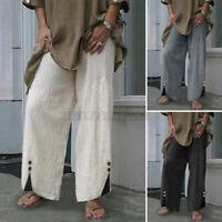 Womens Casual Elastic Waist Pants Solid Wide Leg Culottes Trousers Harem Pants