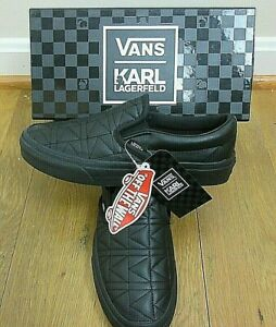 Vans x Karl Lagerfeld Womens Classic Slip on K Quilted shoes Black Size 6 NIB