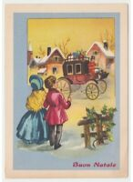 1959 Merry Christmas Card Tableware Vintage Children Carriage Packs Gift