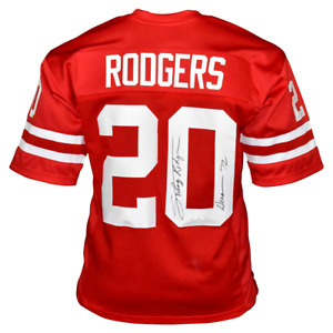 JOHNNY RODGERS SIGNED HEISMAN 72, COLLEGE STYLE RED  JERSEY, JSA  COA #WIT370506