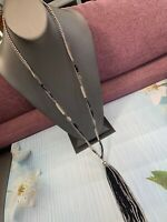 Vintage Signed Bohemian Black Silver long tassel Beaded necklace Pendant 34""