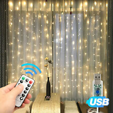 Hanging LED Curtain Fairy Micro String Lights w/Remote Window Wedding Decor USB