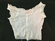 Vintage Antique Lace Top Edwardian Camisole Corset Cover Blouse Cotton Sheer
