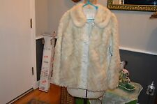 blonde cream white mink fur & leather jacket coat s/m w/pattern