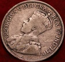 1913 Canada 25 Cents Silver Foreign Coin