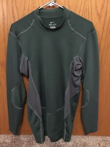 Nike Men's Pro Hyperwarm Vapor Mock Compression Shirt Green/Grey Size XL