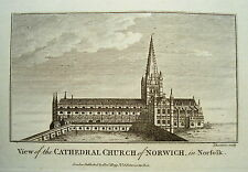 Norwich Norfolk  Cathedral Church England Großbritannien alter Kupferstich 1780