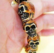 6PC cool skull head beads jewelry fine bracelet 20cm 38g