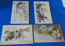 4 Postcards: - Vintage Easter - Florals with crosses - 1 Tuck'S