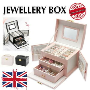 Large Jewellery Display Box Jewelry Ring Necklace Storage Organiser Travel Case