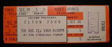 Elton John 1984 Concert Ticket-Forum-Los Angeles-Original