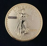 Vintage Bulova WALKING LIBERTY Gold Coin Stack Alarm Clock TECHNICARE Works!