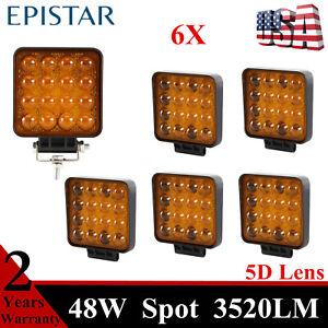 6X 48W 5D Optical LED Work Light 12V 24V Amber Spot Lamps Vehicles 4WD Utility