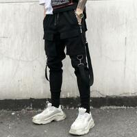Gothic Men Trendy pocket Cargo Overall Combat Slacks Outdoor Long Pants Trousers