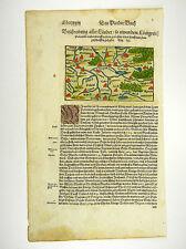 POLEN PREUSSEN LITAUEN DANZIG KARTE VIEW MAP S. MÜNSTER COSMOGRAPHIA 1598 #D981S
