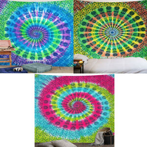 Tie Dye Mandala Tapestry Boho Wall Hanging Decor Bohemian Hippie King Size Throw
