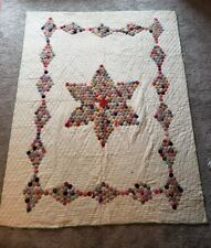 VINTAGE YO YO QUILT STAR & DIAMOND PATTERN UNIQUE 1930'S-40'S 66X86