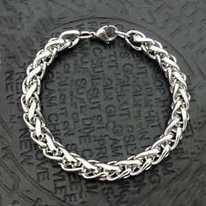 USA Stainless steel Gift Mens 18K Silver Plated 8in Cuban Link Bracelet 6-8 MM