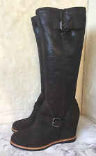 GEOX LADIES BROWN SUEDE LEATHER KNEE HIGH WEDGE BOOTS SIZE 7 UK 40 EUR