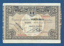 BILBAO -- 25 PESETAS ( 1937 ) -- BANCO DEL COMERCIO -- MBC- // VF -- S563b .