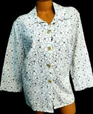 Sag harbor white floral embroidered plus size 3/4 sleeve button down top XL