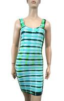 New Bebe Womens Aqua Tie Dye Bodycon Stretchy Ribbed Mini Dress Xs-L $79