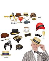 GREAT GATSBY PHOTO BOOTH SIGNS ROARING 20's FLAPPER WIG HATS NEW YEARS EVE PARTY