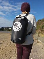 20L roll top dry bag 100% waterproof lightweight TOUGH RIPSTOP nylon (in black)
