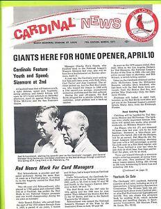March 1971 Cardinal News Team Newsletter 75th Edition  St. Louis Cardinals