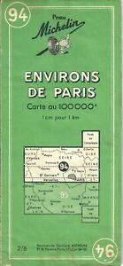 Michelin Green Map 94 Environs De Paris 1cm=1km 1955 Carte verte Michelin 94
