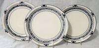 "TIENSHAN (3) Dinner Plates HEARTS 10-7/8"" spongeware country crock folk art"